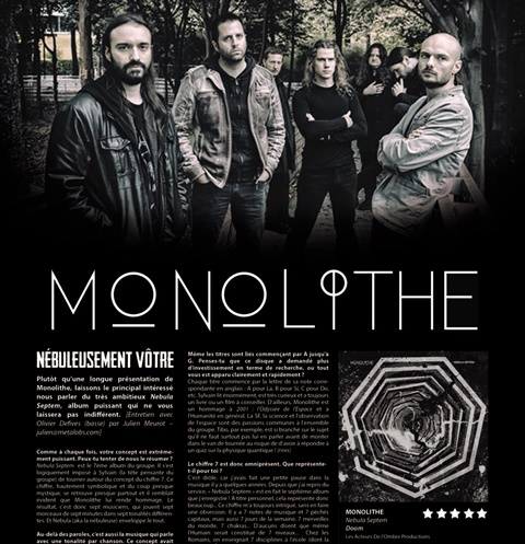 MONOLITHE  interview pour le magazine METAL OBS [ French only]
